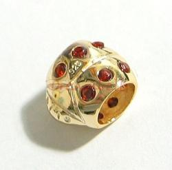 Real Gold 925 Sterling Silver Lady Bug Red CZ BEAD TUBE for European Charm Bracelets